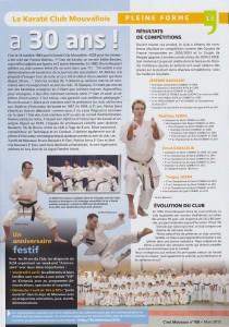 Le Karaté Club Mouvallois a 30 ans. Article dans C'est Mouvaux, mars 2013.